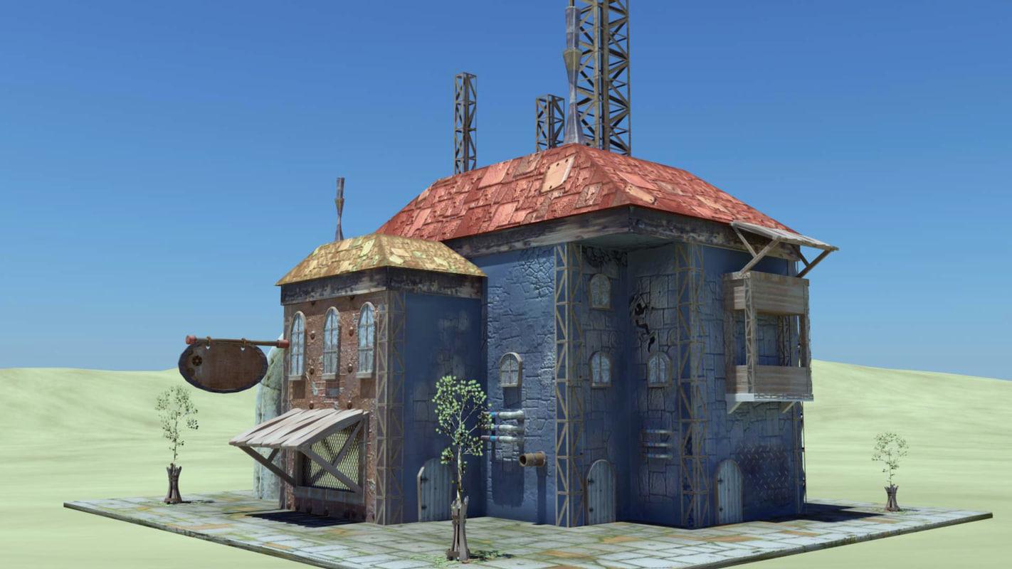 3d steampunk building cartoon
