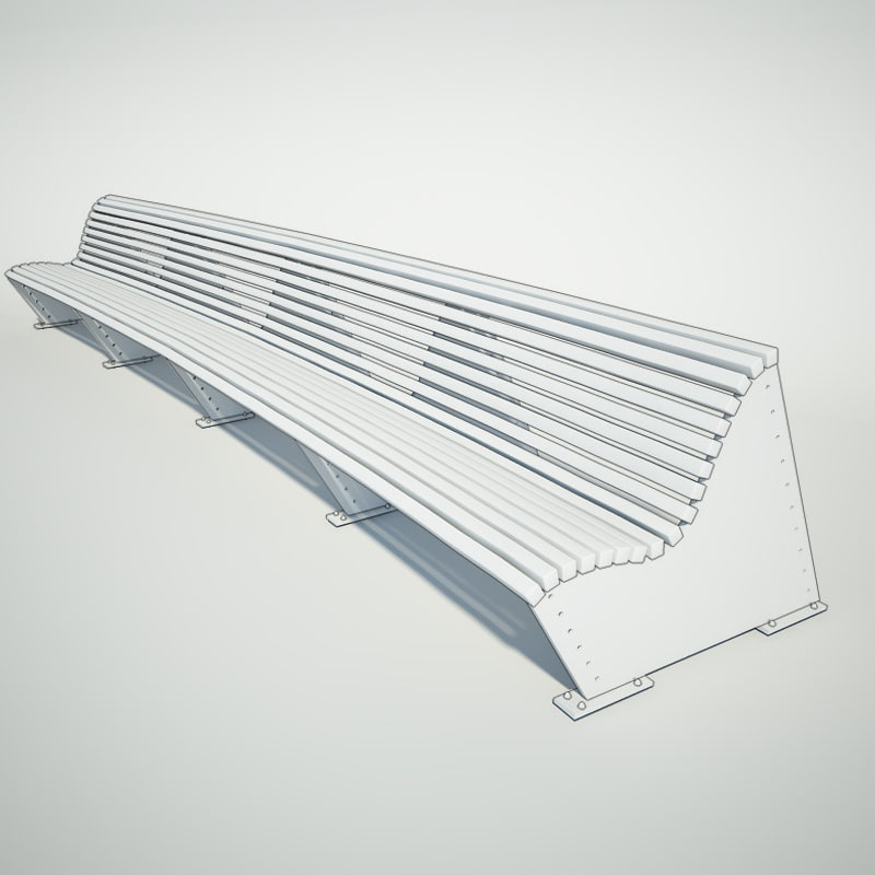 3d 2800mm double bench model