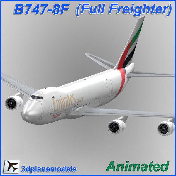 3ds max b747-8 emirates skycargo cargo plane