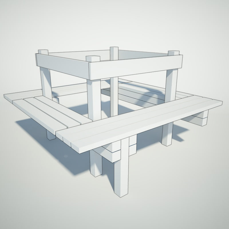 3ds max around-the-tree bench