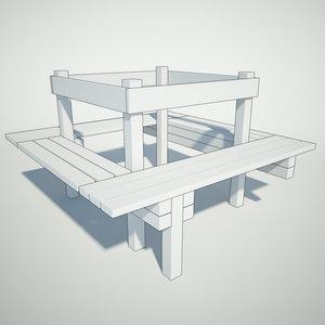 3ds max around-the-tree bench