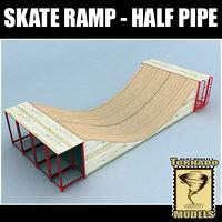 3d model skate ramp - half pipe