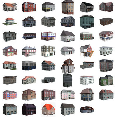 3ds max set 47 polygonal houses