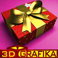 3d model red gift box