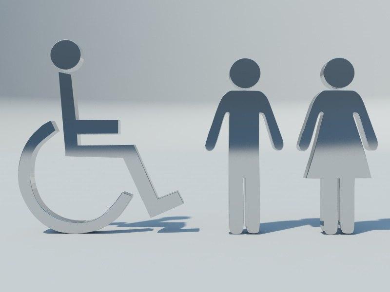 3d model toilet signs
