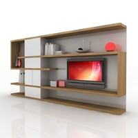 modern tv wall unit 3d obj