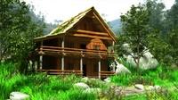 3dsmax exterior wooden landscape house