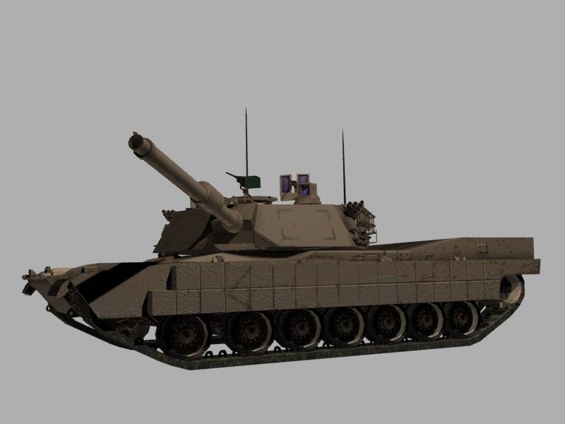 3d m1a2 tusk abrams tank model