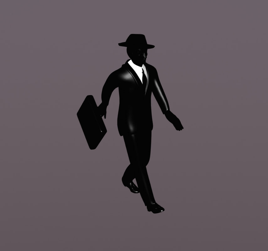 3d model simple business man suitcase