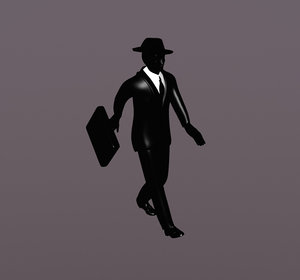 3d model simple business man suitcase