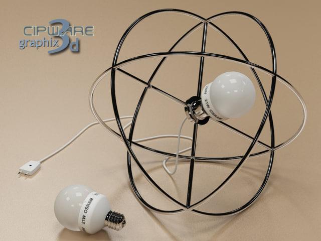 3d futuristic floor lamp circle model