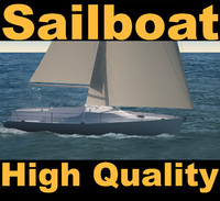 sailboat sail boat 3d model
