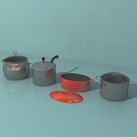 3d saucepans model