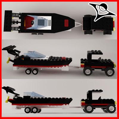 3d lego car boat