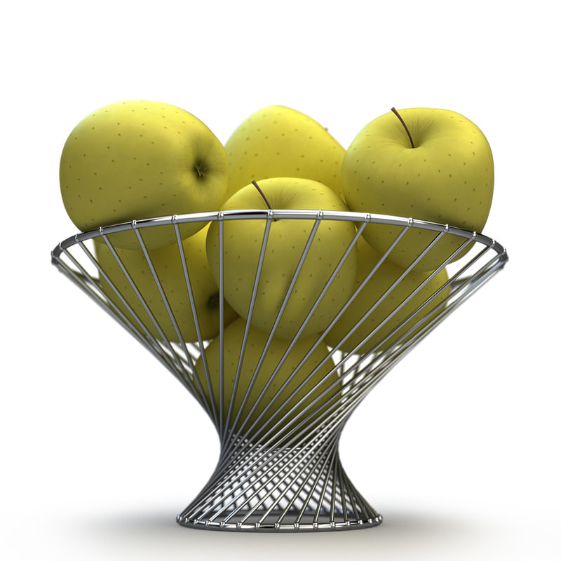 3d basket apple yellow golden model