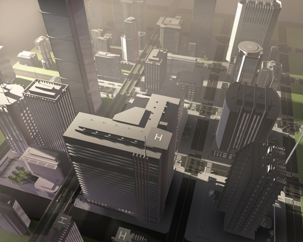 city buildings 3d max
