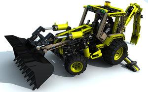 3d lego technic digger model