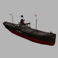 coal cargo ship ss 3d obj