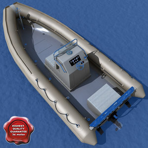 navy inflatable boat c4d