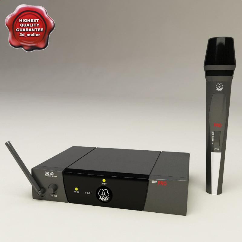 3d model wireless microphone akg wm