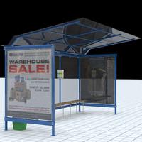 3d busstop bus stop model