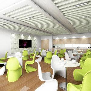interior scene office cafe 3d 3ds