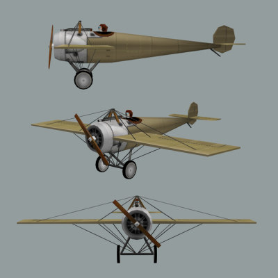 3d model of fokker mono ww1