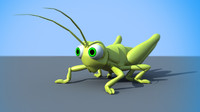3d cartoony grasshopper model