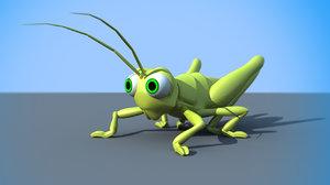 3d cartoony grasshopper model