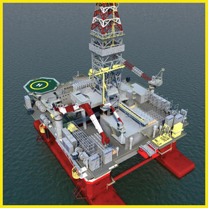 3d model semi submersible oil