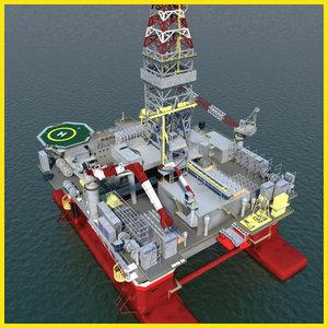 3d model semi submersible oil
