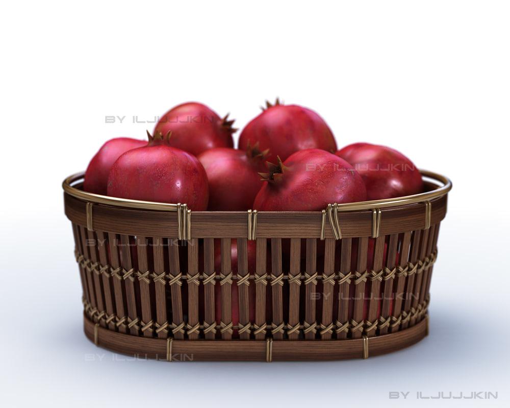 pomegranate fruit basket 3ds