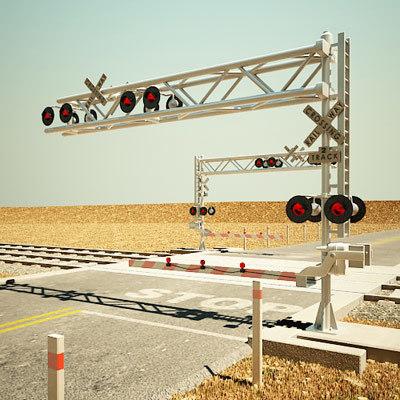 3d model railroad crossing road