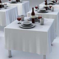 3d dinning table setting model