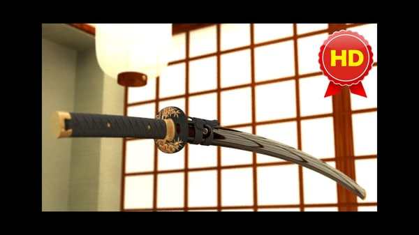 3d max japanese katana sword fully