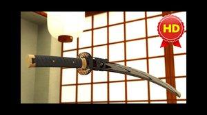 3d max japanese katana sword fully