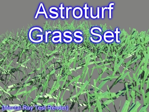 3d model set astroturf grasses