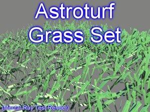 3d model set astroturf grasses
