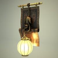 Eggshell Inlaid Lantern Wall Lamp with Hanging Monkey on Floral Coromandel Panel