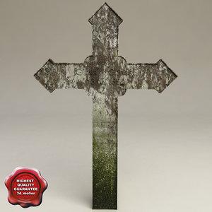 grave cross v1 3d c4d