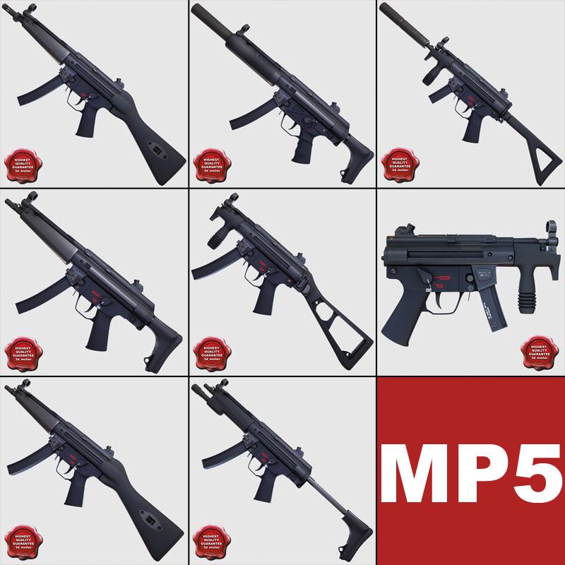 guns submachine 3d model