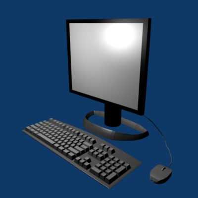 monitor keyboard mouse 3d blend