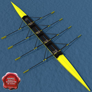 realistic rowing boat 3d model