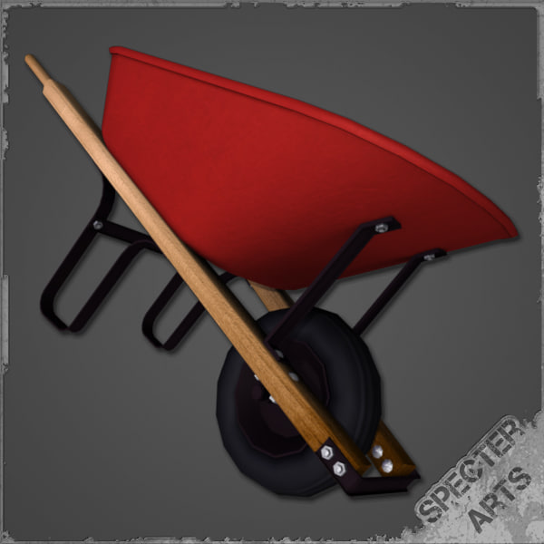 3d model contractor wheelbarrow
