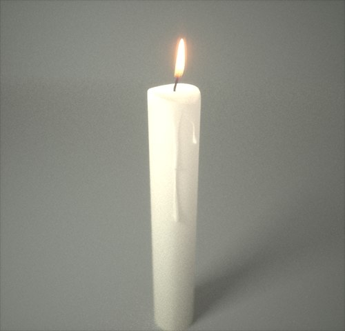3d candle fryrender wax