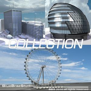 3d london eye city building model