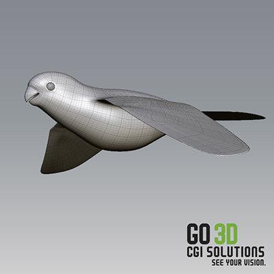 sculpting flying parrot 3d obj
