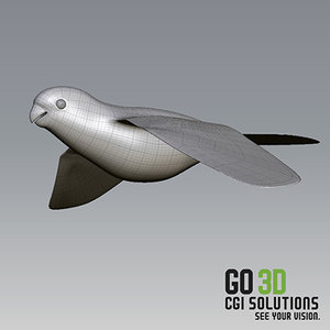 sculpting flying parrot 3d obj