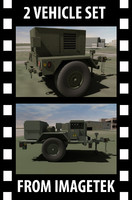 3d model 2 military hmmwv towable