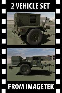 3d model 2 military hmmwv towable